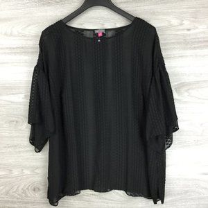 Vince Camuto Black Sheer Blouse  Plus Size